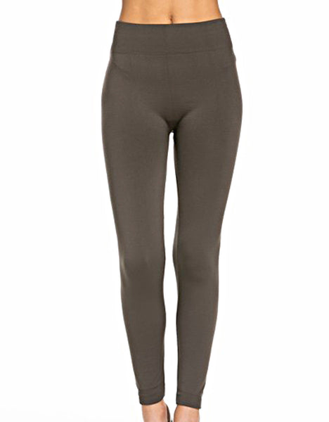 fleece lined, legging, warm, olive, polyester, spandex