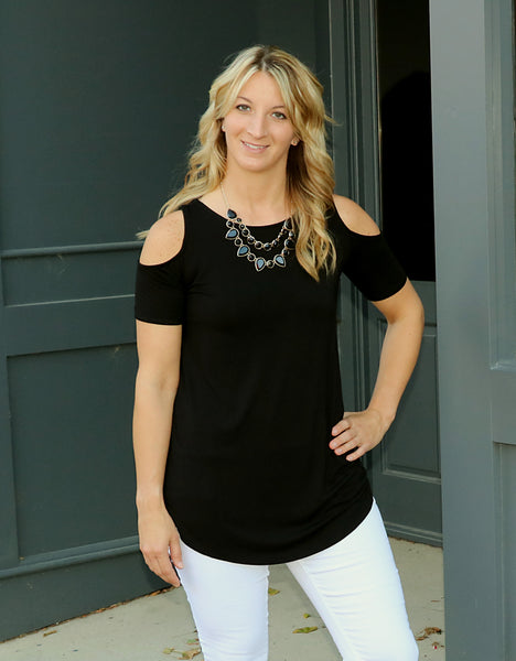 Bamboo knit, cold shoulder, top, black, Criss cross, back detail