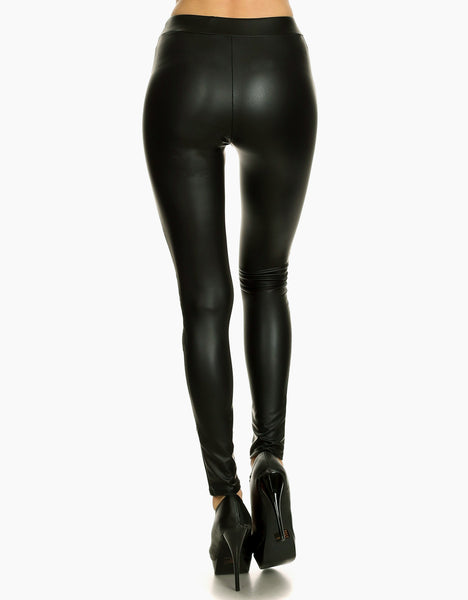Black Faux Leather Leggings back