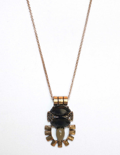 black, gold, tribal, necklace