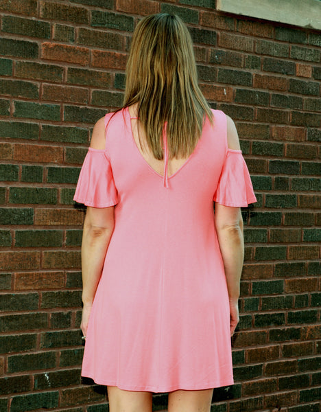 Cold Shoulder Coral Dress