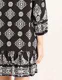 black, dress, casual, pattern, mandala print, shift dress, empire waist, embroidery detailing, non-sheer, lined, comfortable, woven, lightweight, rayon