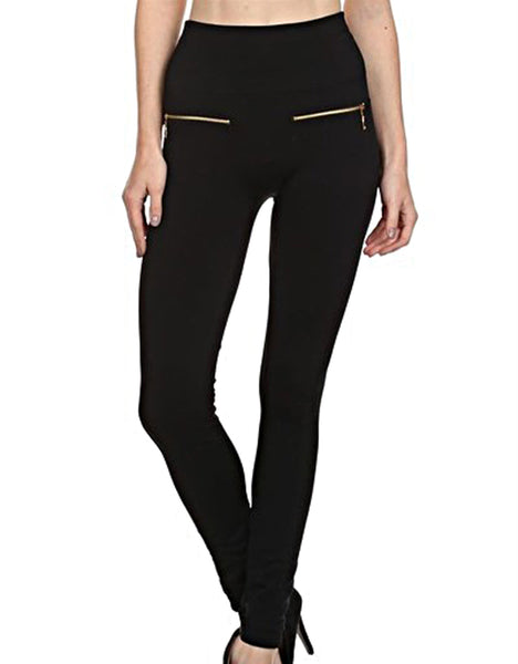 High Waist, Leggings, black, polyester, spandex, cotton, comfortable, zipper accents, gold