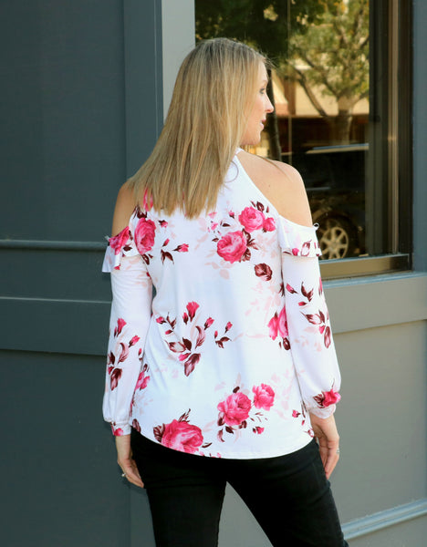 Floral Cold Shoulder Top back