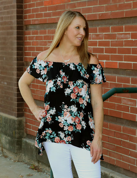 Floral Off the Shoulder Top side