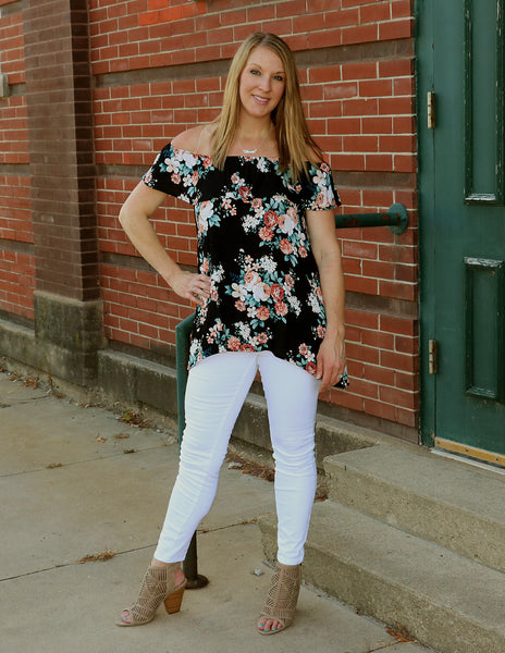 Floral Off the Shoulder Top full length