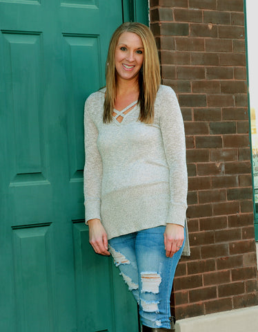 BLUSH CUTOUT SWEATER