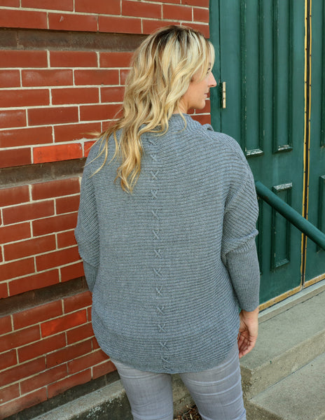 Gray Batwing Sweater back detail