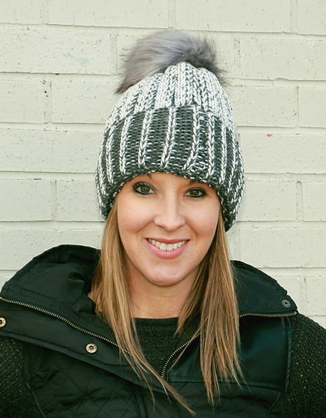 pom pom, gray, winter hat, hat