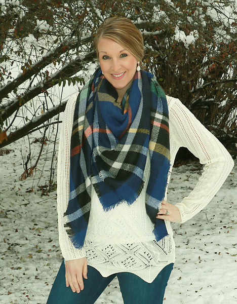 winter scarf, scarf, blanket scarf, oversized, blue, dark blue, blue, plaid