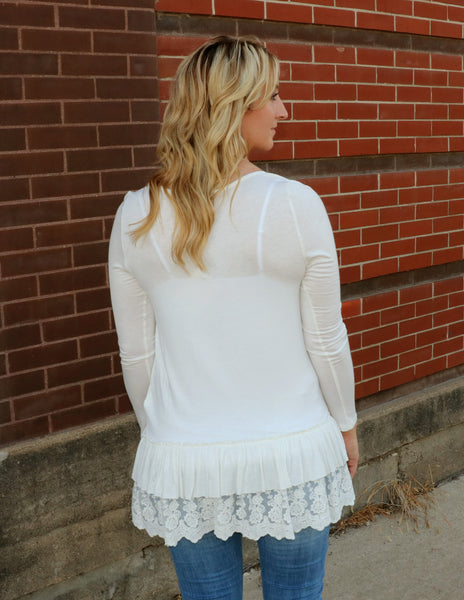 top, ivory, cream, white, long sleeve, lightweight, ruffled, lace, round neck