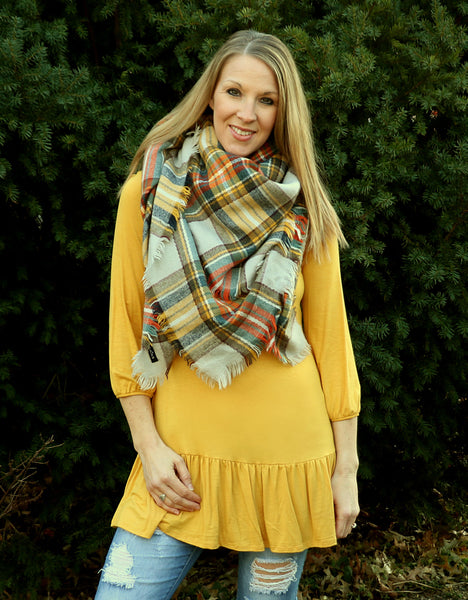 yellow, ruffle, puff sleeve, mustard, long shirt, plaid blanket scarf