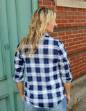 plaid, navy, shirt, blouse, top, lightweight