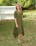olive, green, olive green, uneven hemline, comfortable, bamboo