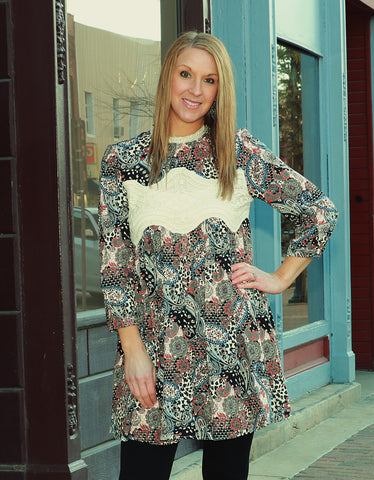 Taupe Floral Print Dress