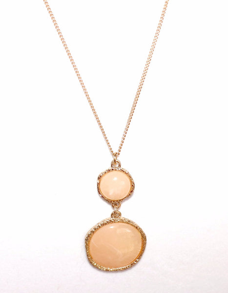 Stone, pendant necklace, long necklace, peach, gold