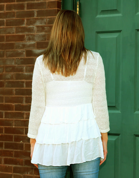 White Tiered Ruffled Top