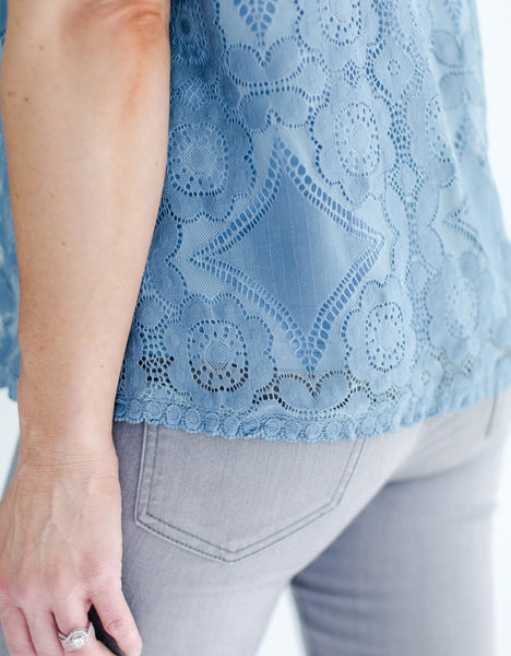 Bombshell Fashion Boutique Artic Blue Lace Top lace detail