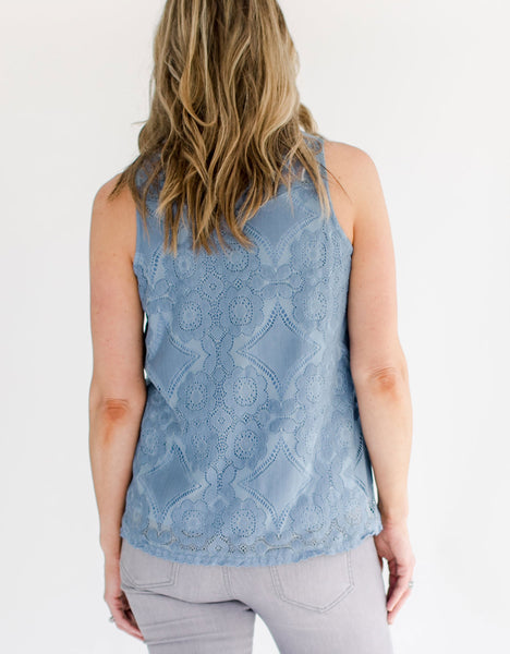 Bombshell Fashion Boutique Artic Blue Lace Top back view