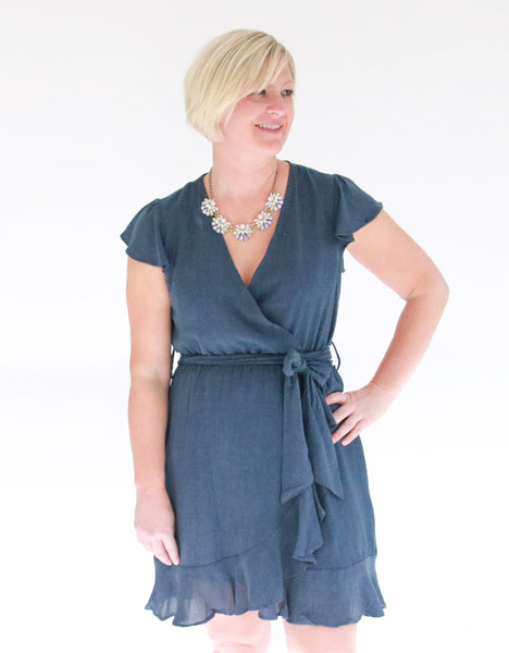 blue-wrap-dress-for-fall-ruffle-sleeve-tie-waist