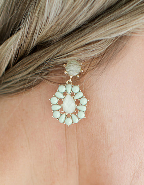 Chandelier Stone Earrings close-up
