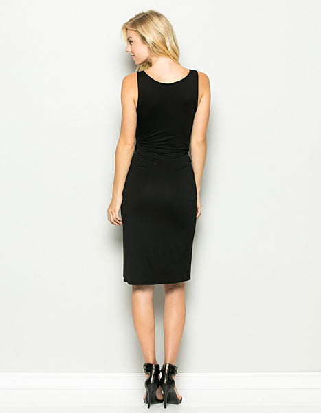 black, dress, cocktail dress, formal, sleeveless, knot, fitted, knee-length, spandex, rayon, comfortable