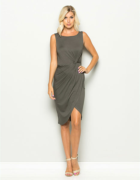 gray, dress, cocktail dress, formal, sleeveless, knot, fitted, knee-length, spandex, rayon, comfortable