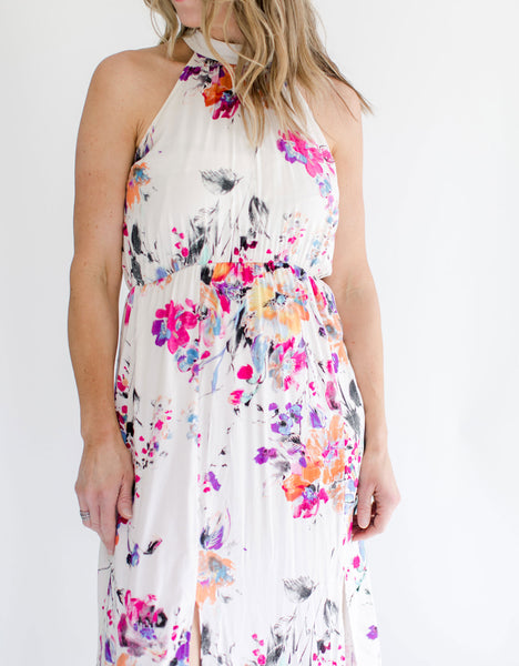 Floral Maxi Halter Dress mid-section