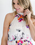 Floral Maxi Halter Dress neckline
