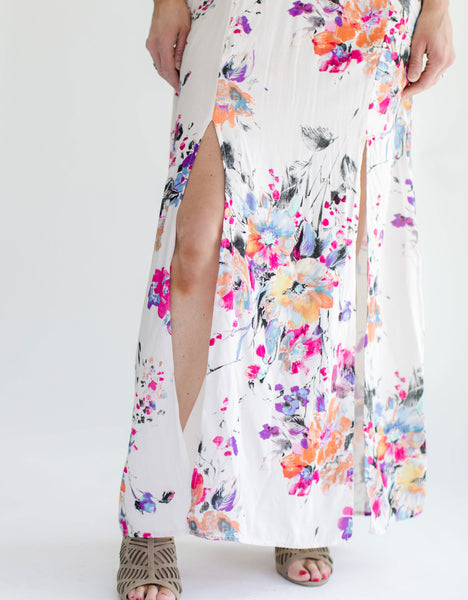 Floral Maxi Halter Dress bottom slit