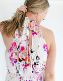 Floral Maxi Halter Dress back detail