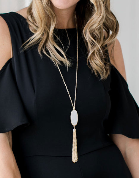 Gold Stone Tassel Necklace close-up