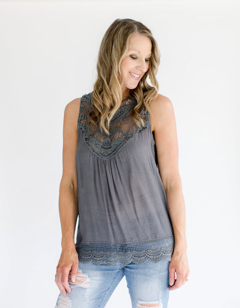 Gray Sleeveless Crochet Top