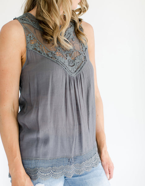 Gray Sleeveless Crochet Top crochet detail