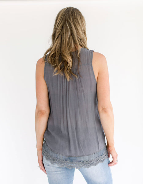 Gray Sleeveless Crochet Top back