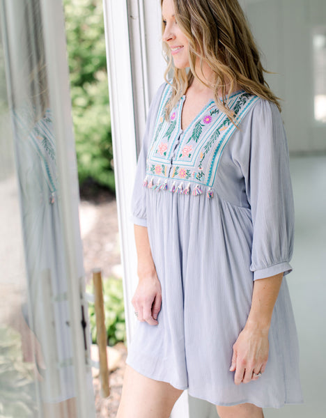 Gray Beach House Tassel Embroidered Dress