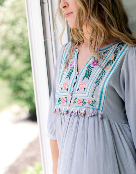 Beach House Tassel Embroidered Dress