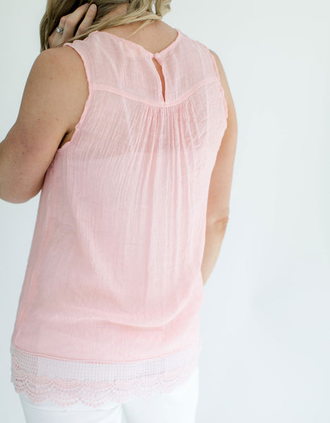 Pink Sleeveless Crochet Top
