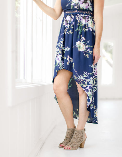 Navy Floral Open Back Dress - Hi-Low detail