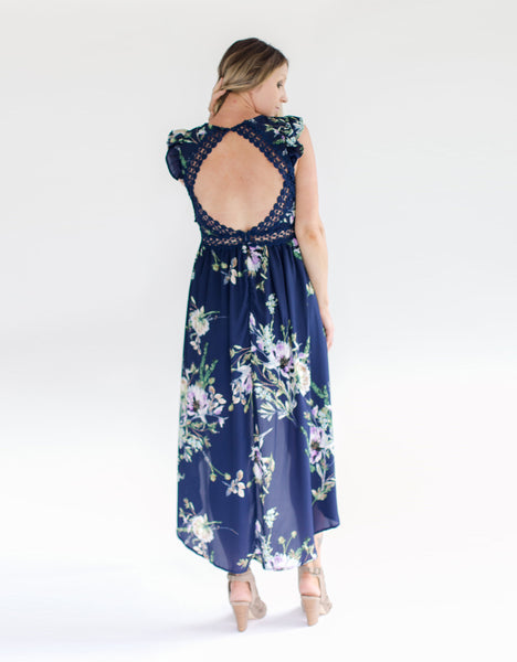 Navy Floral Open Back Dress - Back Detail
