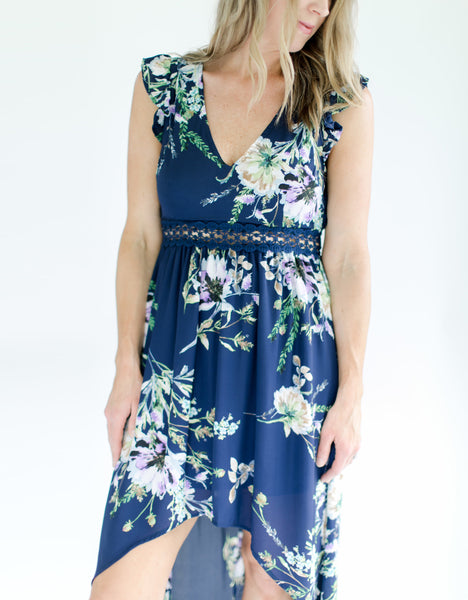 Navy Floral Open Back Dress - Lace detail
