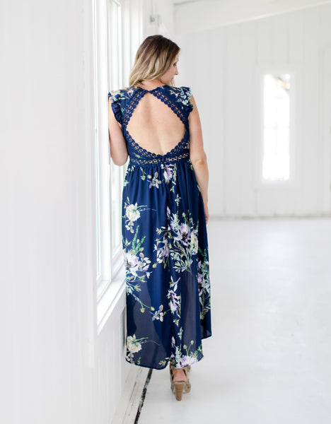 Navy Floral Open Back Dress - Back