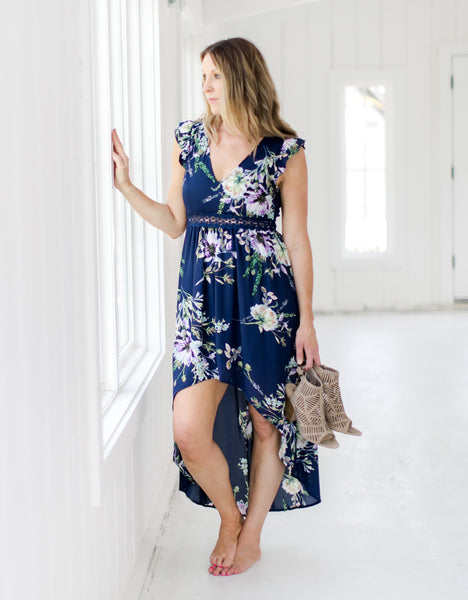 Navy Floral Open Back Dress - Front
