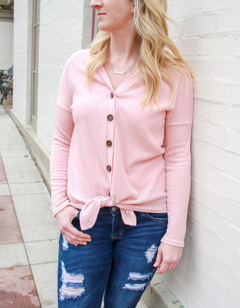 Ribbed Front Tie Pink Top