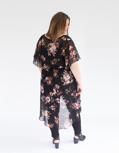 High Low Floral Duster