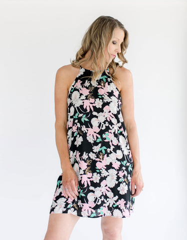 Navy Floral Open Back Dress