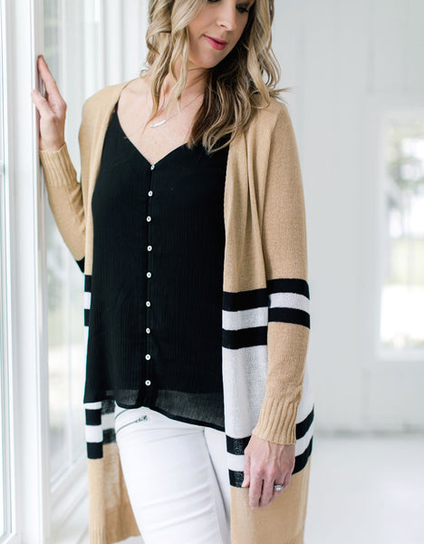 Tan Striped Cardigan