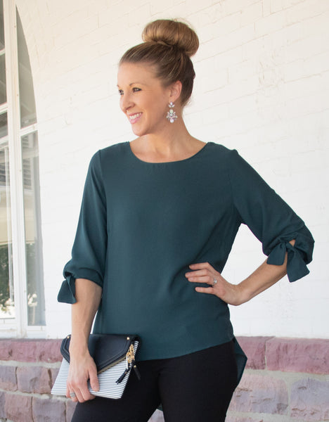 teal-fashion-top-tie-sleeve