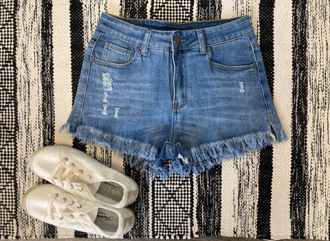 Frayed Denim Shorts- Light
