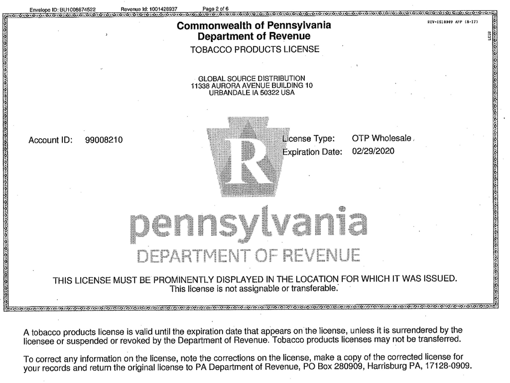 Pennsylvania Department Of Revenue - Tobacco License